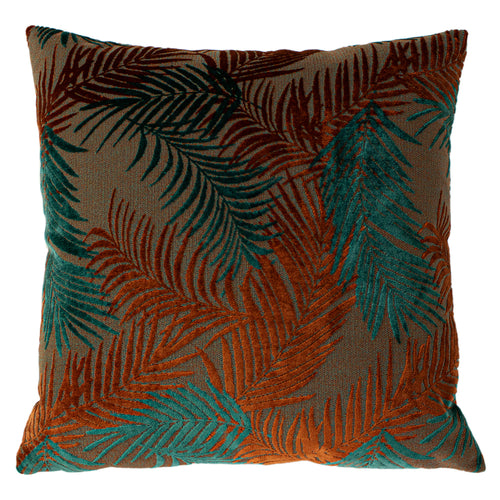 Image of the Palm Grove Velvet Jacquard Cuhion Cover | Teal/Rust | Paoletti