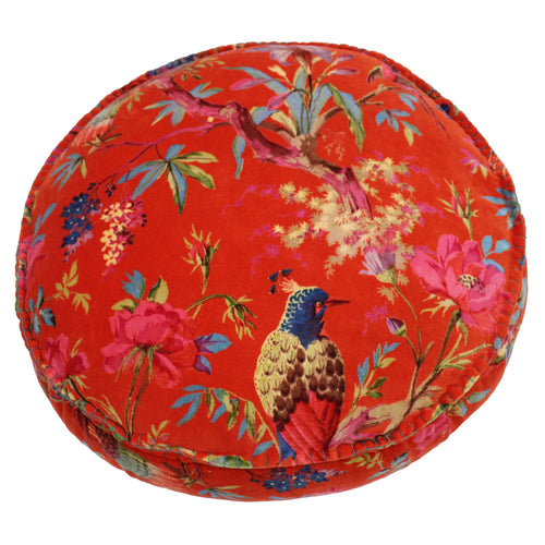 Image of the Paradise Velvet Round Cuhion Cover | Orange | Paoletti