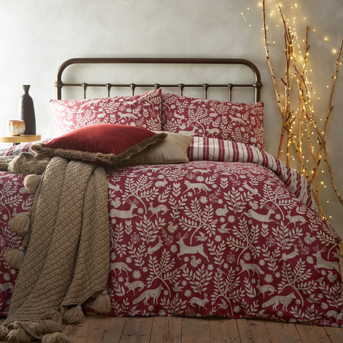 Image of the Skandi Woodland Brushed Cotton Duvet Cover Set | Wild Berry | furn.