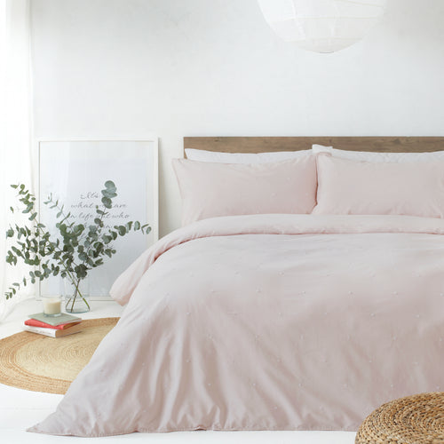 Image of the Strand Washed Cotton Duvet Cover Set | Blush/White | The Linen Yard