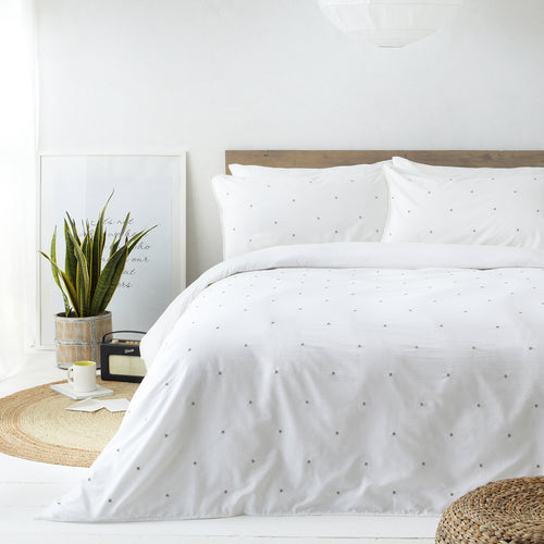 Image of the Strand Washed Cotton Duvet Cover Set | White/Grey | The Linen Yard