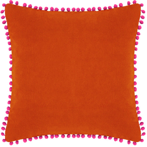 Image of the Velvet Pompom Cuhion Cover | Orange/Fuchsia | Paoletti