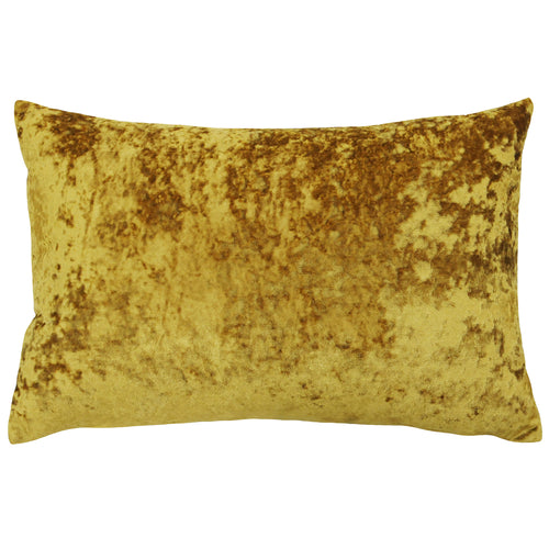Image of the Verona Crushed Velvet Rectangular Cuhion Cover | Ochre | Paoletti