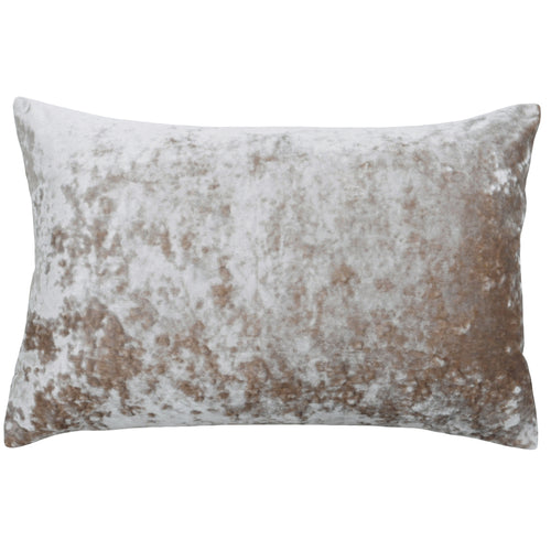Image of the Verona Crushed Velvet Rectangular Cuhion Cover | Oyster | Paoletti