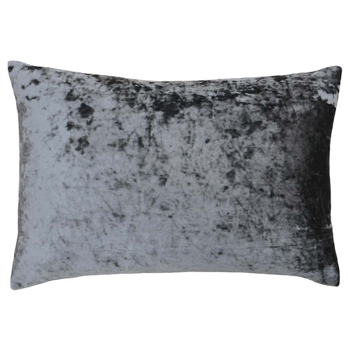 Image of the Verona Crushed Velvet Rectangular Cuhion Cover | Pewter | Paoletti