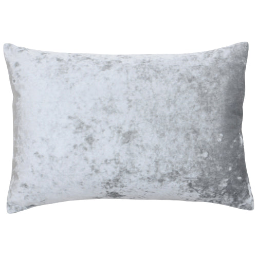 Image of the Verona Crushed Velvet Rectangular Cuhion Cover | Silver | Paoletti