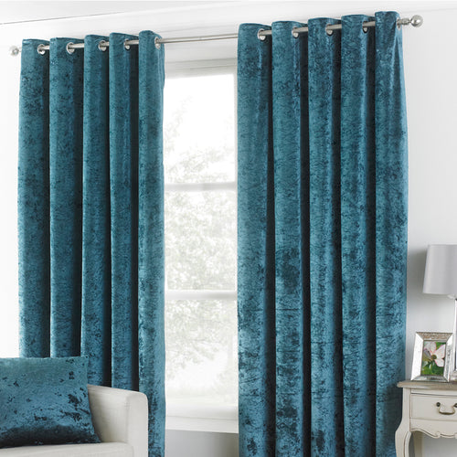 Image of the Verona Crushed Velvet Eyelet Curtain | Teal | Paoletti