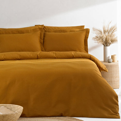 Image of the Waffle Textured Duvet Cover Set | Ginger | The Linen Yard