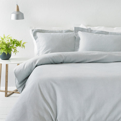 Image of the Waffle Textured Duvet Cover Set | Silver | The Linen Yard