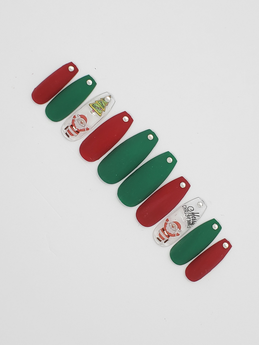 [Matte] Red-Green Press-on Nails