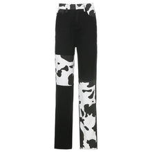 Load image into Gallery viewer, Cow Print Patchwork Jeans