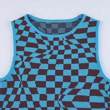 Load image into Gallery viewer, Plaid Y2K Knitted Top