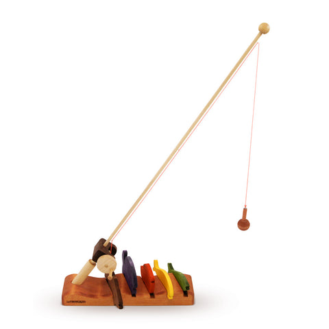 Wooden Fishing Rod & Fish|Canne à Pêche et ses poissons