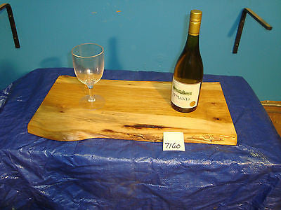# 7160 rustic wooden cheese serving board live edge solid hickory USA made