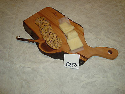 # 5250 rustic wooden cheese serving cutting board live edge wild apple USA made