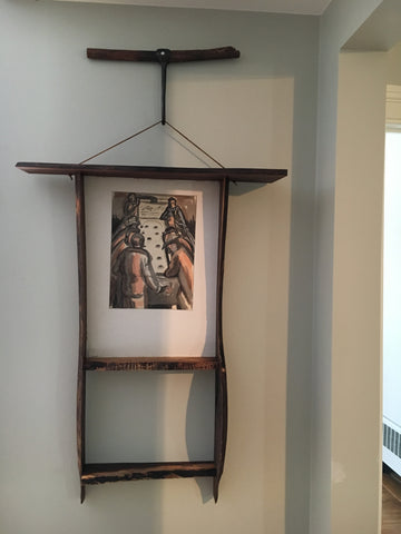 Live Edge Picture Frame with Vintage Meat Hook