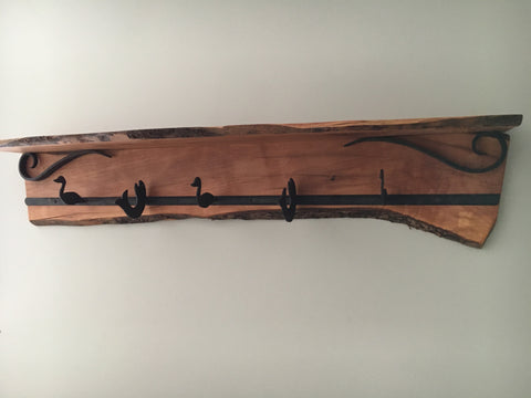 Live Edge Apple Shelf & Coat Hanger w/ Hand Forged Wrought Iron Hooks