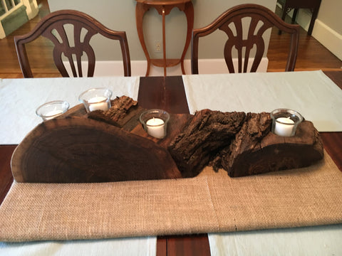Rustic Black Walnut Candle Holder