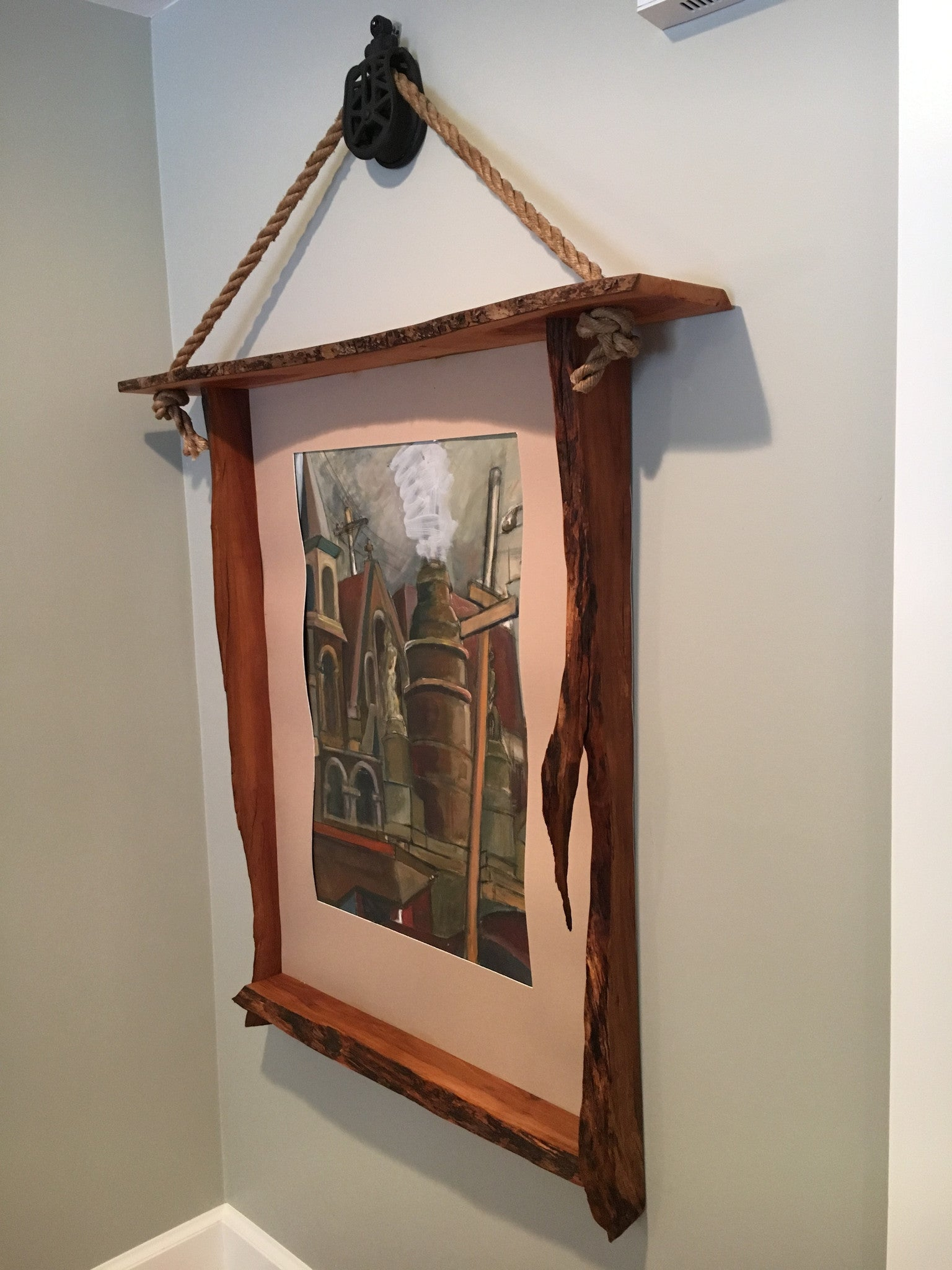 Rustic Wild Apple Live Edge Picture Frame Hung with a Vintage Pulley and Ship Rope