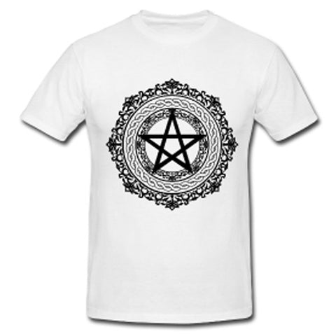 Last 2! White or Grey Pentagram T w/ Black Print