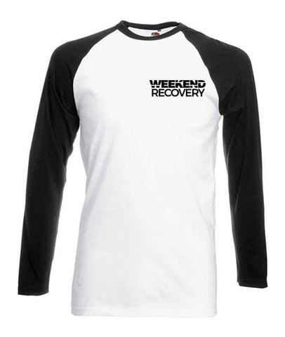 Weekend Recovery White Baseball Long Sleeved w/ Back Print