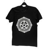 Black Pentagram T w/ White Print