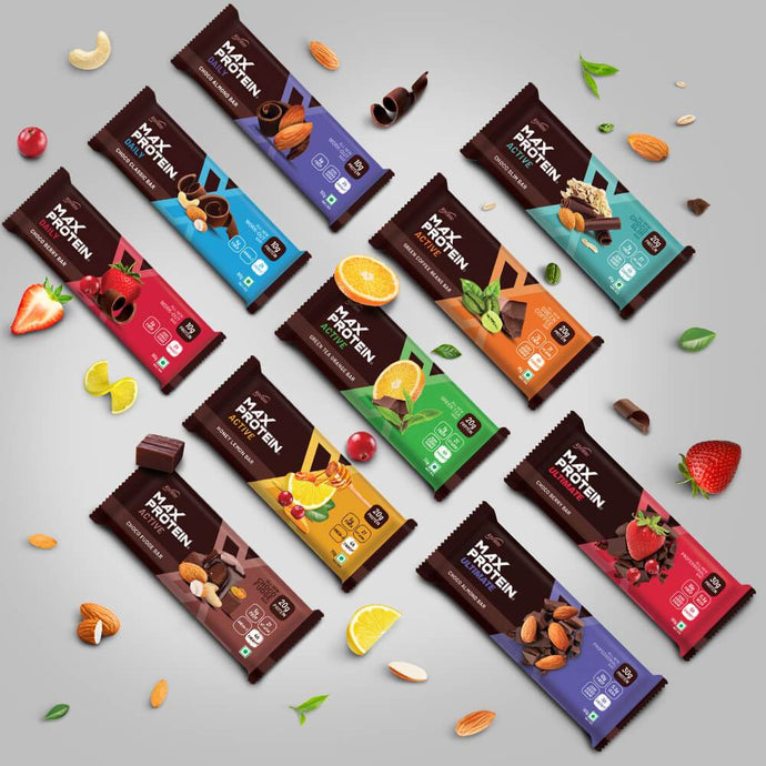 Assorted Pack of 10 Daily - (Almond, Classic & Berry) Active -(Choco Fudge, Choco Slim, Green Coffee, Green Tea & Honeylemon) Ultimate -(Almond, Berry) - ritebite-max-protein