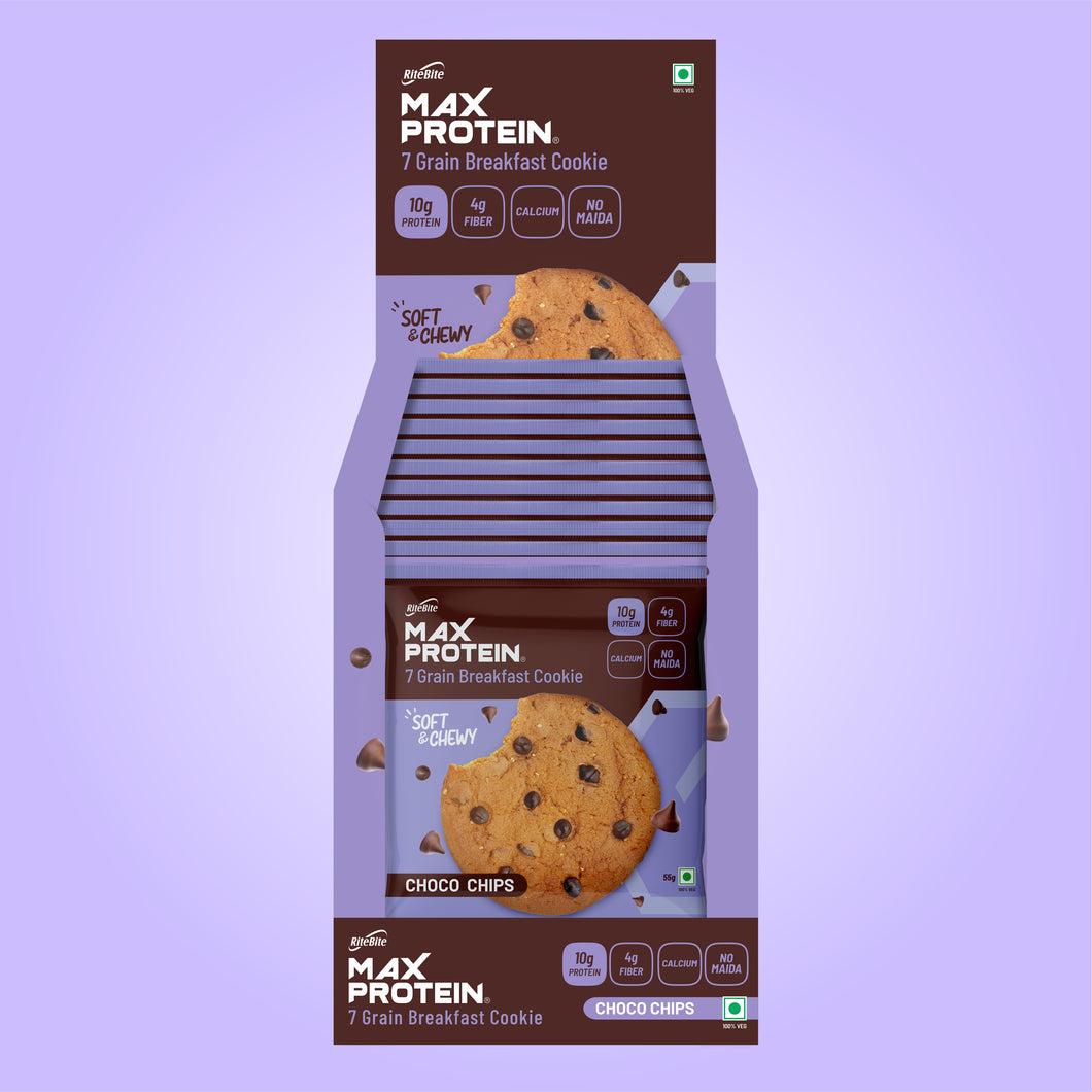 Max Protein Choco Chips Cookie (Pack of 12)