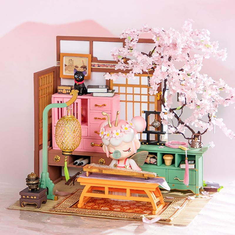 Rolife Spring Series DIY Miniature Dollhouse | Sakura Pavilion SN999 (Including Blind Box) + Pastry Shop SN009+Tea Shop SN010
