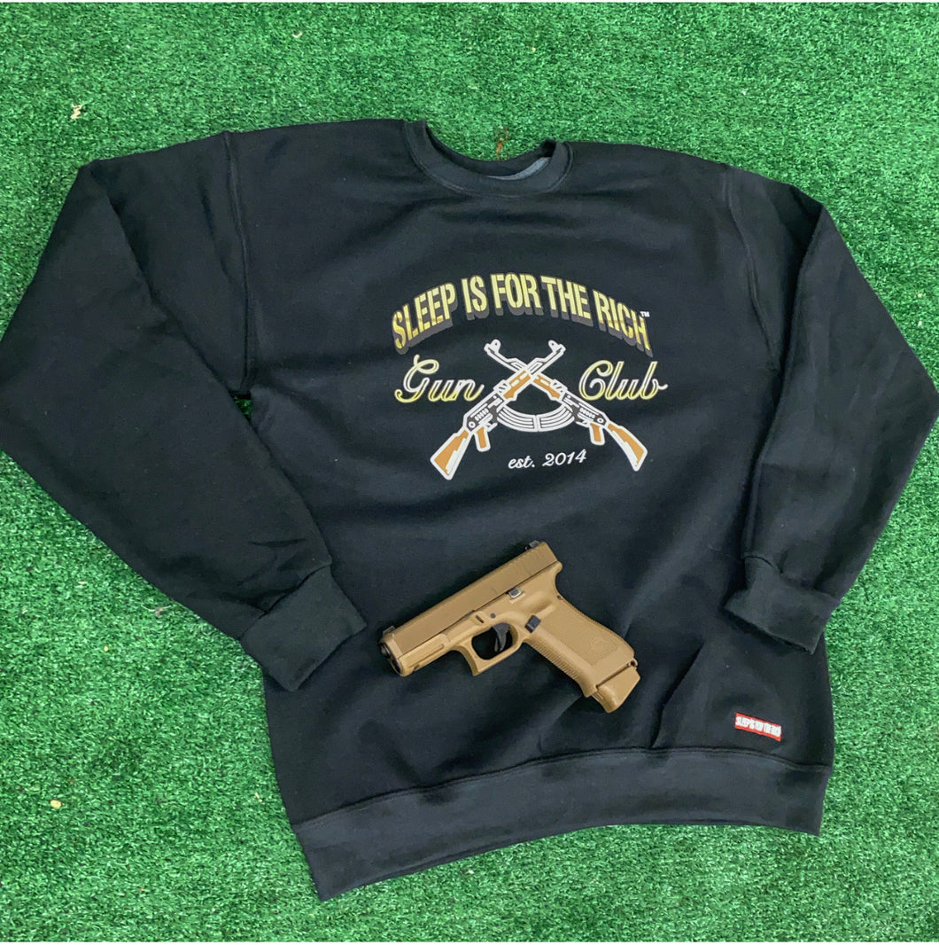 (Black) Official Sleep is For The Rich Gunclub Crewneck