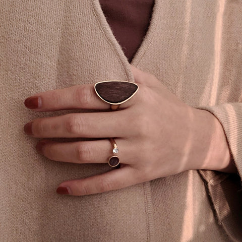 Image of Irregular Geometric Wooden Ring