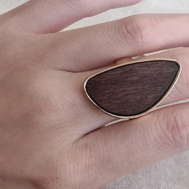 Irregular Geometric Wooden Ring