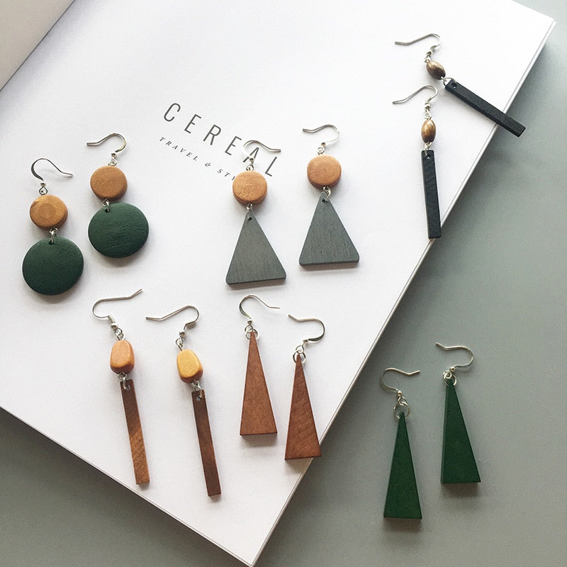 Simple Wood Geometric Earrings