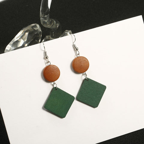 Image of Simple Wood Geometric Earrings