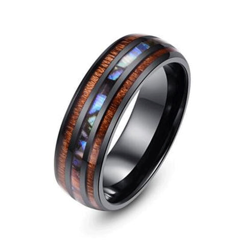 Men's Stainless Steel and Wooden Ring