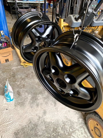 Land Rover Wheels Powder Coated in Satin Black