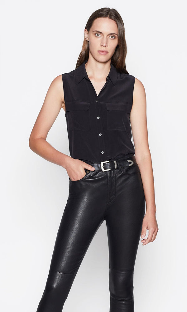 SLEEVELESS SLIM SIGNATURE SILK SHIRT