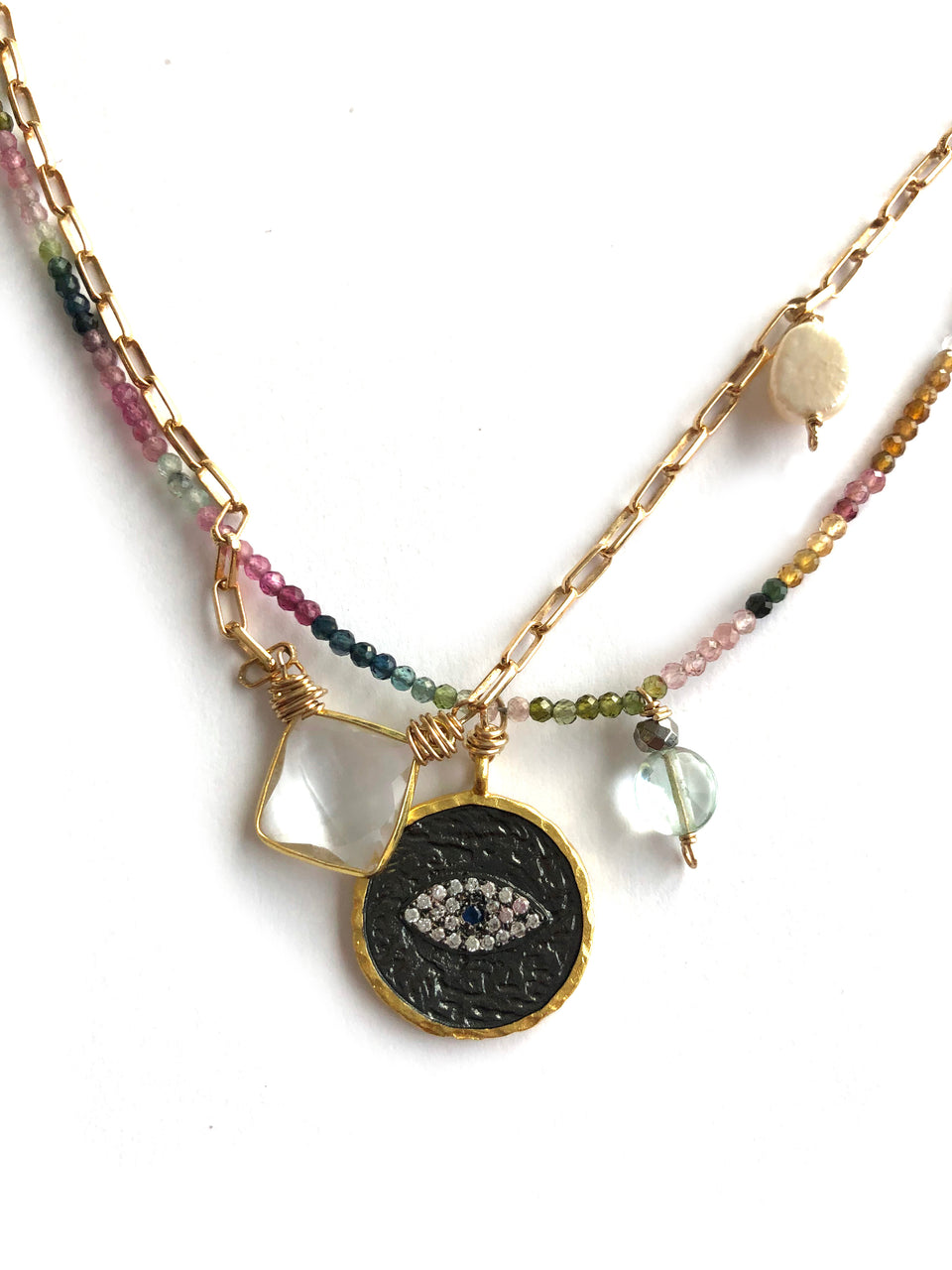 EVIL EYE tourmaline pearl