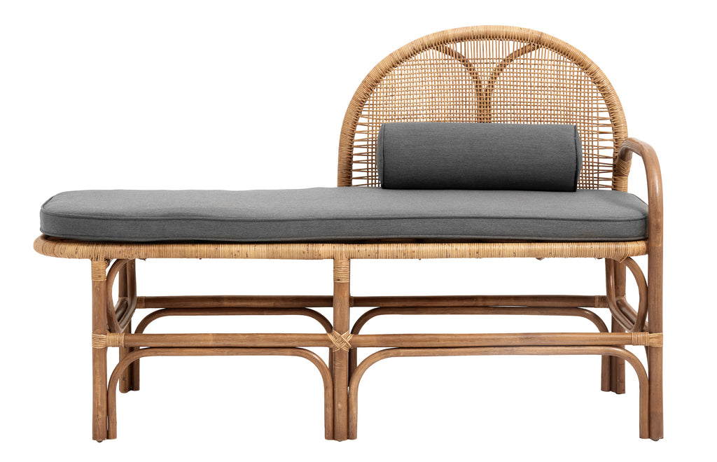 BALI bench with mattress, rattan, nature