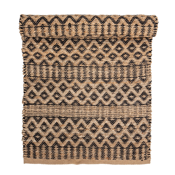 Rug Indian, Brown-Black, Jute