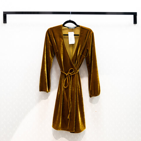 Velvet Wrap Mini Dress, Golden