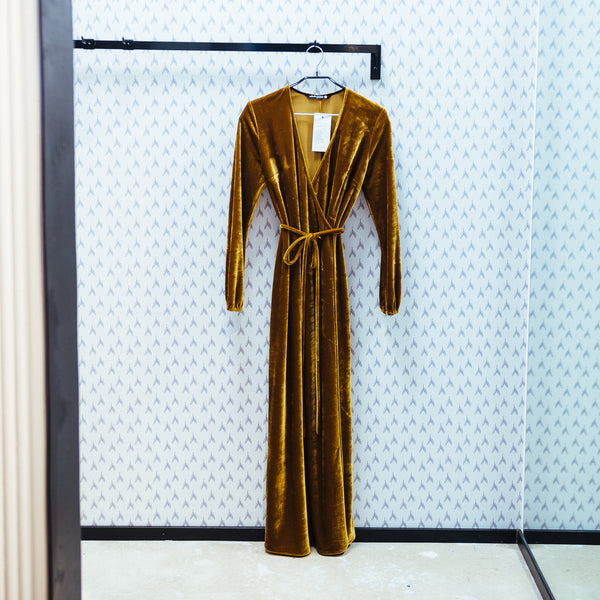 Velvet Wrap Maxi Dress, Golden