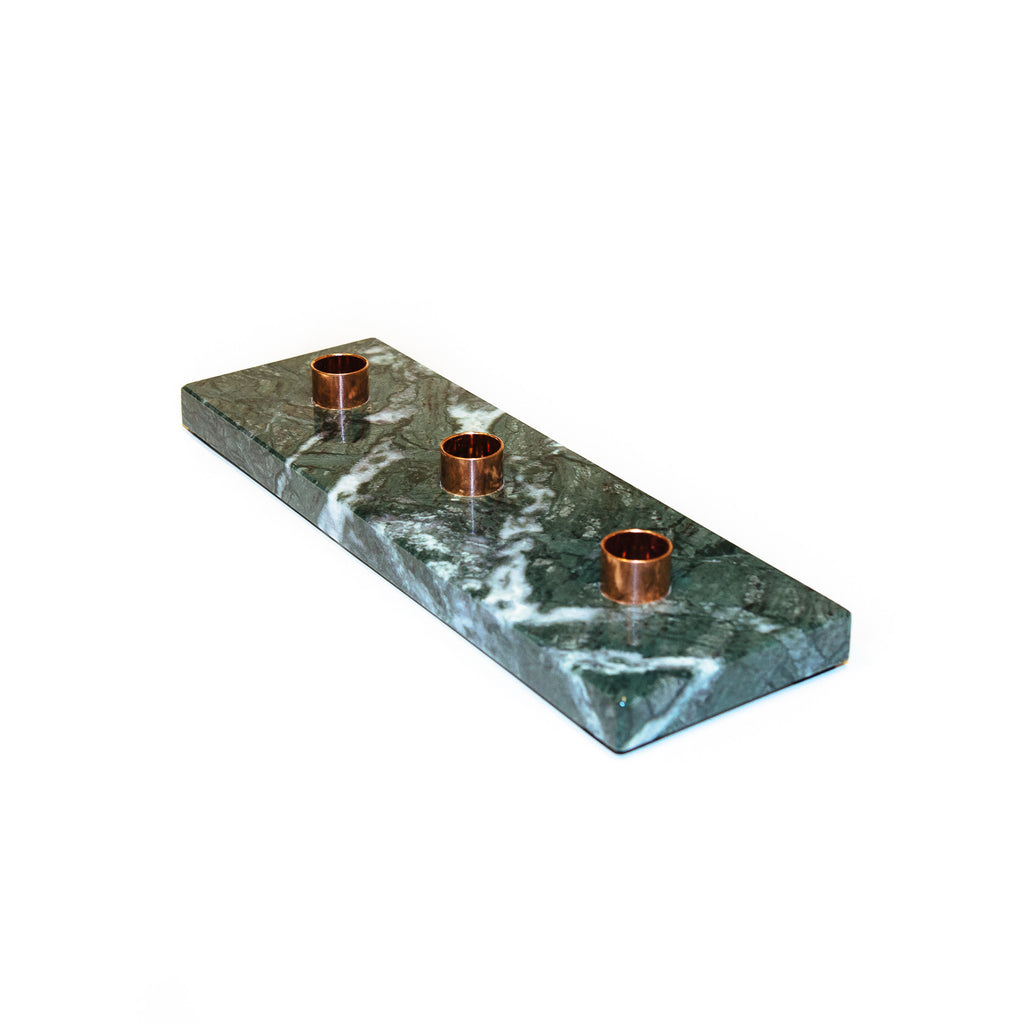 Valhalla triple candle holder is designed from the elegant material, Italian Green marble. Perfect gift idea. Estonian design. Nordic design.