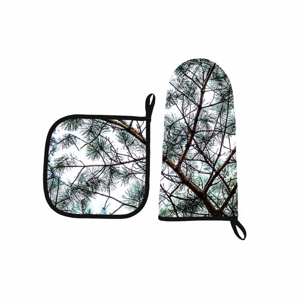 Oven mitt & Pot holder, Silvergreen
