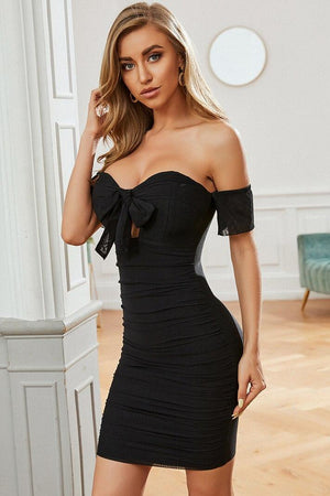 Black Short Sleeve Bardot Bodycon Dress