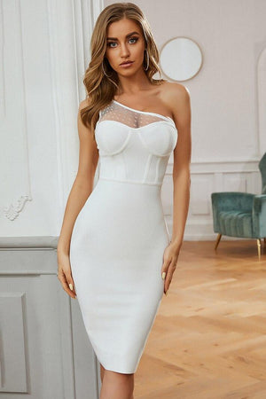White asymmetric mid-length dress with lace detail