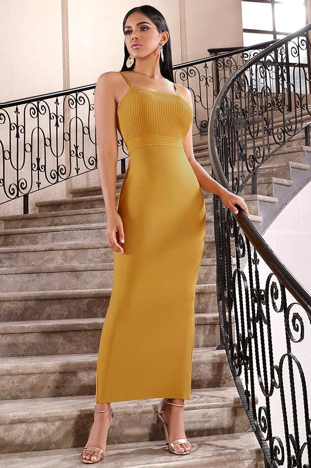Buy Bandage Yellow Dress