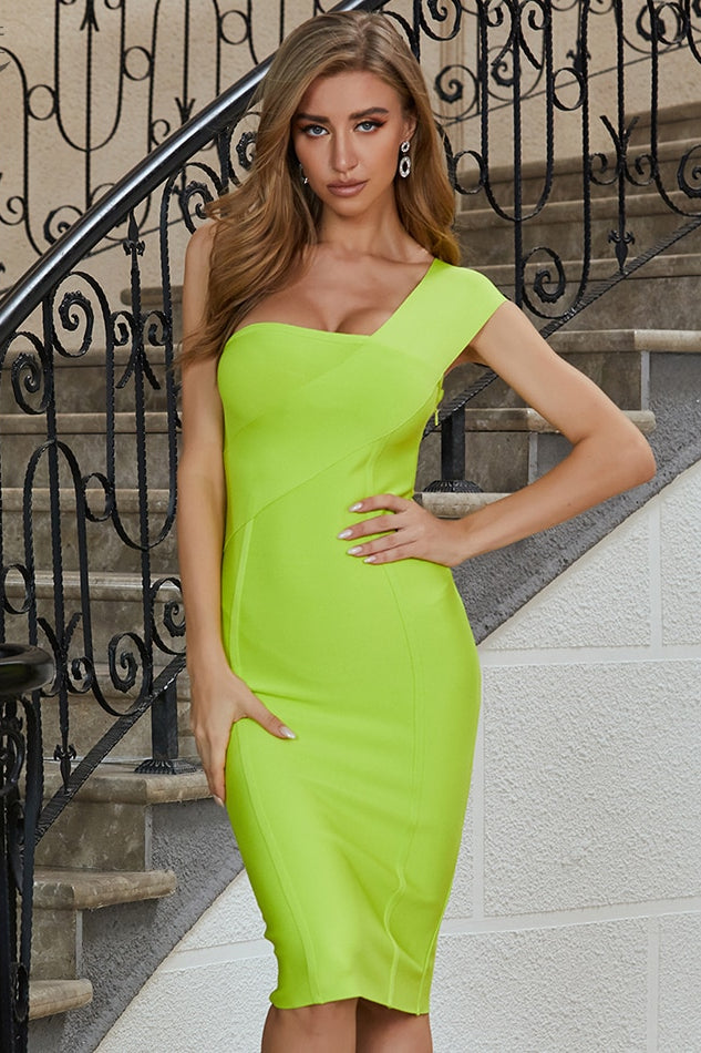 Light Green Asymmetric Strappy bandage Midi Dress