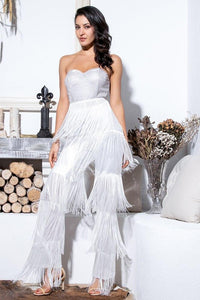 White fringed low-cut jumpsuit