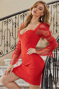 Red Bandage Bodycon Dress With Heart Collar And Long Tulle Sleeves